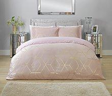 Argos Home Blush Jacquard Geo Bedding Set - Single