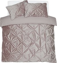 Argos Home Blush Velvet Pintuck Bedding Set -