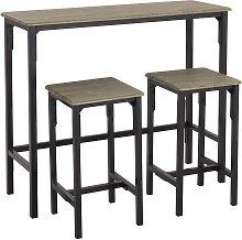 Argos Home Bolitzo Bar Set & 2 Stools - Oak & Black