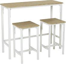 Argos Home Bolitzo Bar Set & 2 Stools - Oak & White