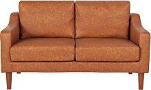 Argos Home Brixton 2 Seater Faux Leather Sofa - Tan