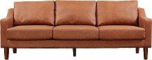 Argos Home Brixton 3 Seater Faux Leather Sofa - Tan