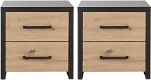 Argos Home Broadway 2 Bedside Tables - Grey & Wood