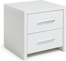 Argos Home Broadway 2Drw Bedside Table -White Gloss