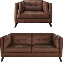 Argos Home Charlie Faux Leather Chair & 3 Seater