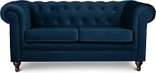 Argos Home Chesterfield 2 Seater Velvet Sofa - Blue