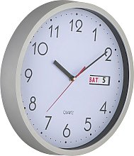Argos Home Day and Date Wall Clock - Silver
