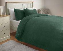 Argos Home Forest Green Fleece Bedding Set - Single