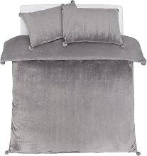 Argos Home Glitter Pom Pom Fleece Bedding Set -