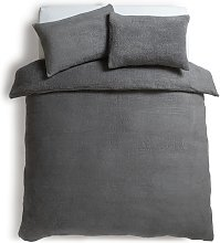 Argos Home Grey Fleece Bedding Set - Double