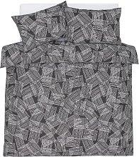 Argos Home Grey Grid Print Bedding Set - Double