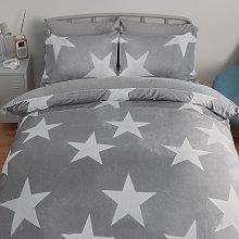 Argos Home Grey Stars Fleece Bedding Set - Single