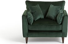 Argos Home Hector Velvet Cuddle Chair - Green