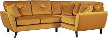 Argos Home Isla Right Corner Velvet Sofa - Gold