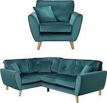 Argos Home Isla Velvet Chair & Left Corner Sofa -