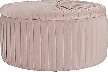 Argos Home Leckie Velvet Storage Footstool - Pink