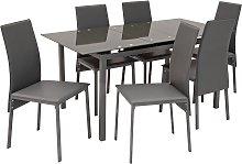 Argos Home Lido Glass Extending Dining Table & 6