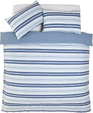 Argos Home Light Blue Striped Bedding Set - Double