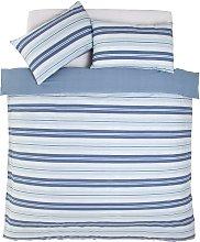 Argos Home Light Blue Striped Bedding Set -