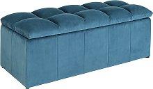 Argos Home Maisie Velvet Ottoman - Blue