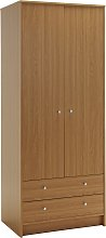 Argos Home Malibu 2 Door 2 Drawer Wardrobe - Oak