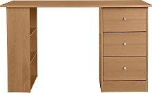 Argos Home Malibu 3 Drawer Office Desk - Oak Effect