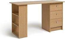 Argos Home Malibu 3 Drawer Office Desk - Oak Effect