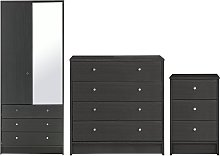 Argos Home Malibu 3 Pc 2 Dr Wardrobe Set - Black