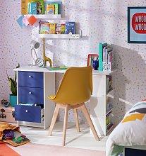 Argos Home Malibu Kids 3 Drawer Desk - Blue & White