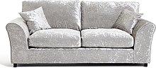 Argos Home Megan 3 Seater Fabric Sofa - Silver