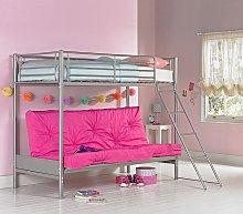 Argos Home Metal Bunk Bed Frame with Fuchsia Futon