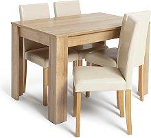 Argos Home Miami Oak Effect Dining Table & 4 Cream