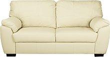 Argos Home Milano 3 Seater Leather Sofa - Ivory