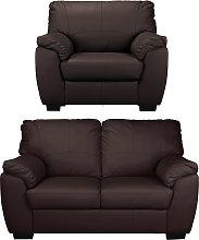 Argos Home Milano Leather Chair & 2 Seater Sofa -