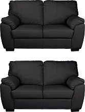 Argos Home Milano Pair of Leather 2 Seater Sofa -
