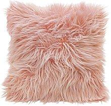 Argos Home Mongolian Faux Fur Cushion - Blush Pink