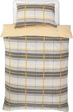 Argos Home Mustard and Grey Check Bedding Set -