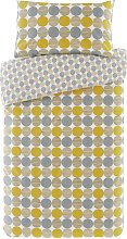 Argos Home Mustard and Grey Circles Bedding Set -