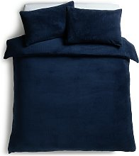 Argos Home Navy Fleece Bedding Set - Double