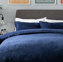 Argos Home Navy Fleece Bedding Set - Single