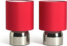Argos Home Pair of Touch Table Lamps - Chrome and