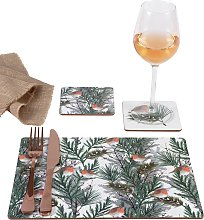 Argos Home Robin Placemat and Coaster Set - Pack