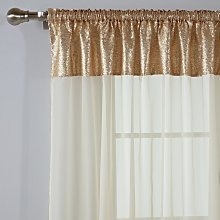 Argos Home Sequin Voile Curtain Panel - Gold