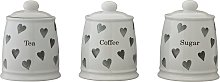 Argos Home Set of 3 Hearts Storage Jars - Grey