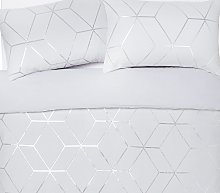 Argos Home Silver Jacquard Geo Bedding Set - Double