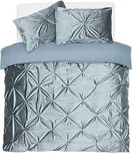 Argos Home Teal Velvet Pintuck Bedding Set - Double