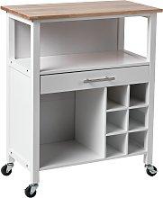 Argos Home Wooden Kitchen Trolley with Wine Rack -