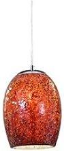 Ariana Chrome Red Cracked Glass Pendant Light