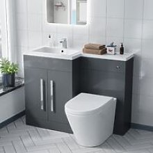 Aric 1100 mm Left Hand Vanity Cabinet with WC Back
