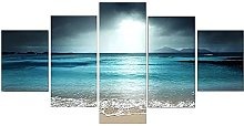 ARIE 5 Pieces Canvas Prints Wall Artsunset Beach